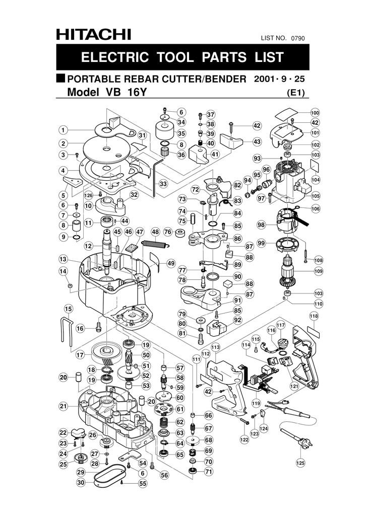 hitachi vb16y. tool diagram hitachi vb16y