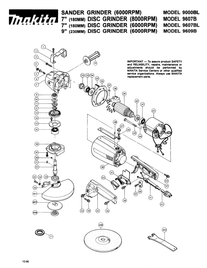 Parts for 9607BL   Powerhouse Distributing