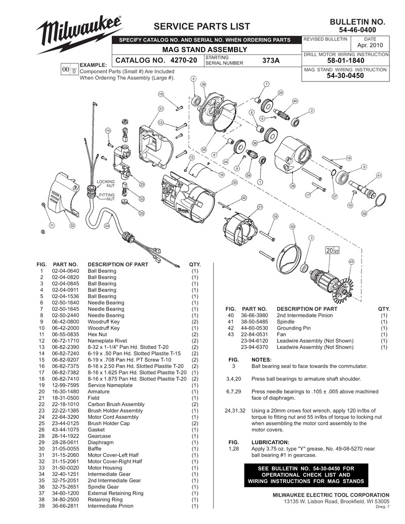 Parts for 4270-20 (SER 373A)   Powerhouse Distributing on