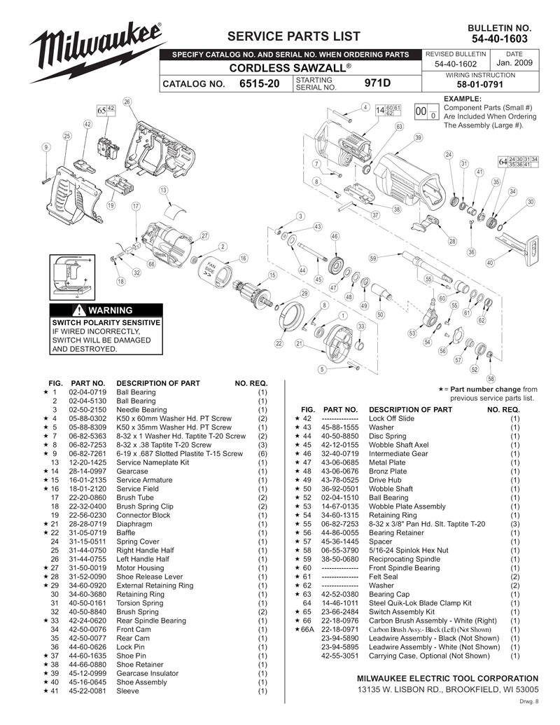 Parts For 6515 20 Ser 971d Powerhouse Distributing Sawzall Wiring Diagram Tool