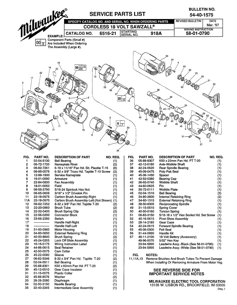 Parts For 6516 21 Ser 918a Powerhouse Distributing