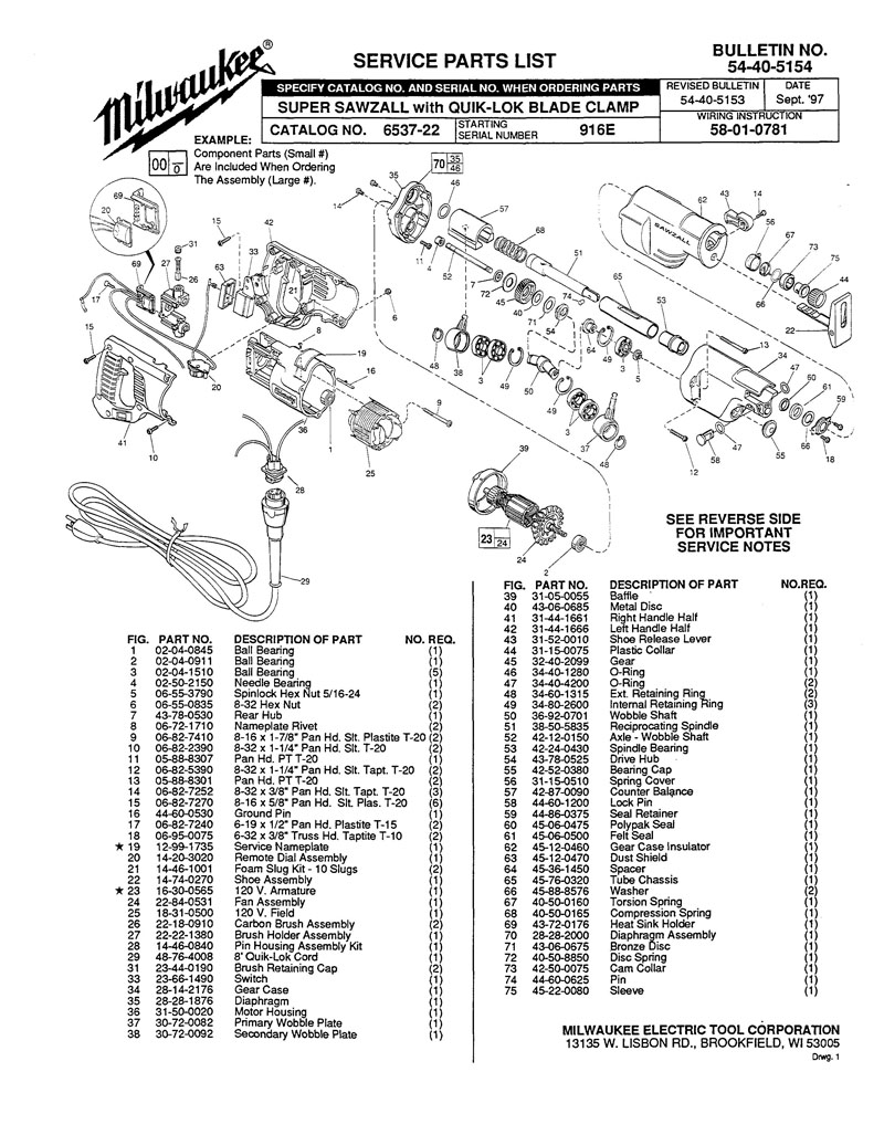 sawzall wiring diagram parts for 6537 22  ser 916e  powerhouse distributing  parts for 6537 22  ser 916e