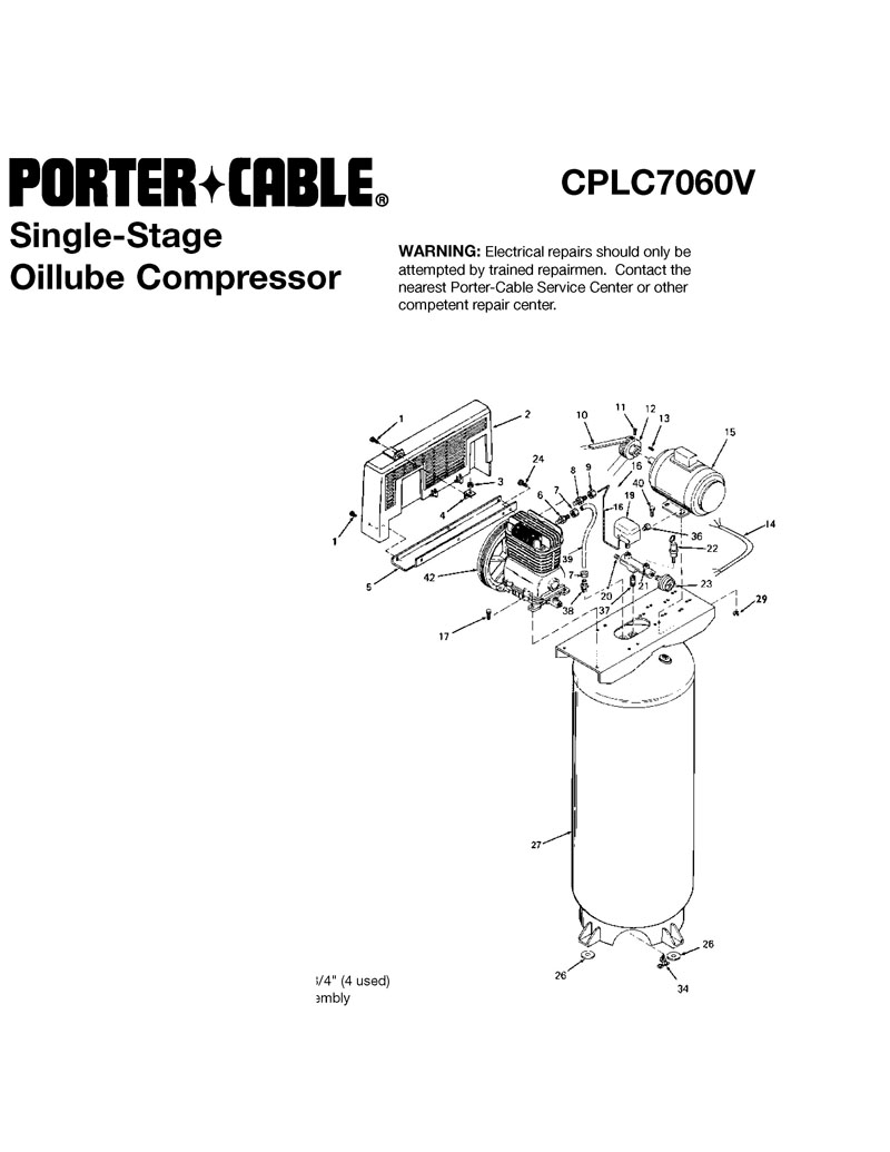 Parts For Cplc7060v Type 0 Powerhouse Distributing Porter Cable Compressor Wiring Diagram Tool