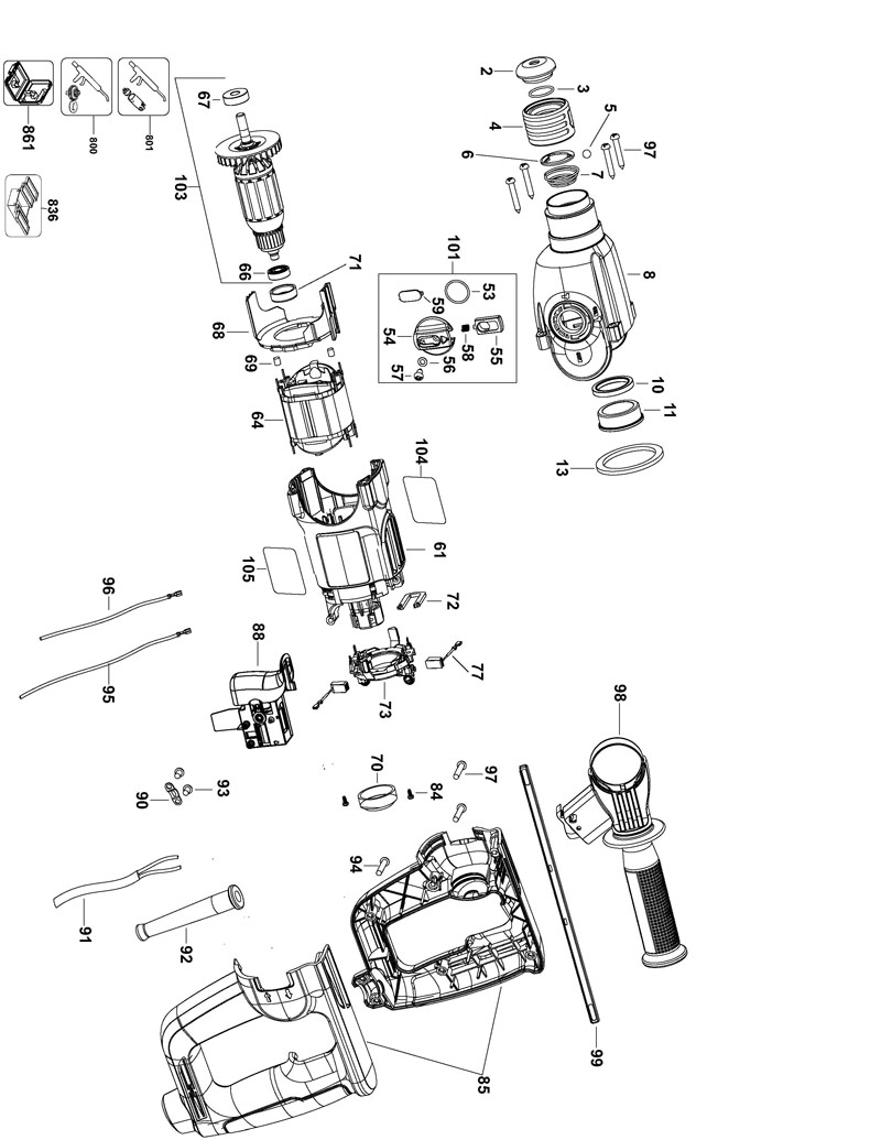 Grinding Parts Area : Milwaukee tools parts and diagrams grinder