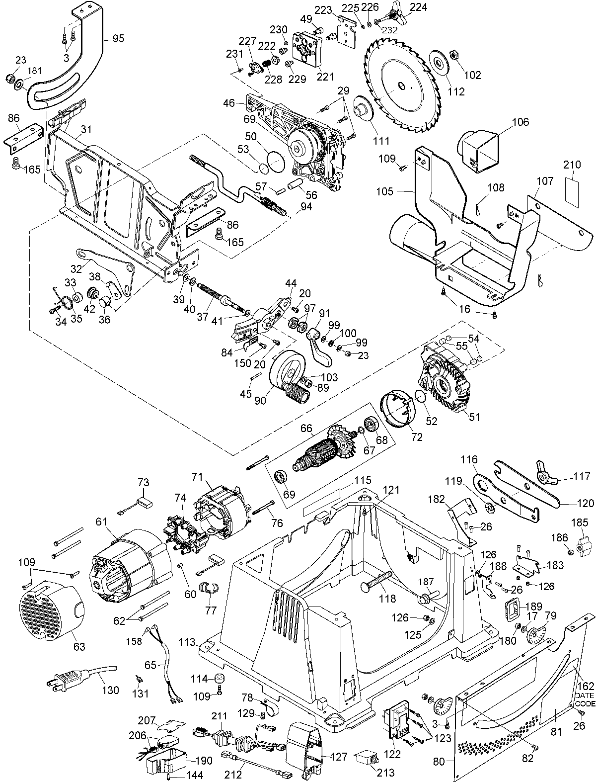 dewalt table saw dwe7491rs » home and furnitures reference,Wiring diagram,Wiring Diagram For A Dw745