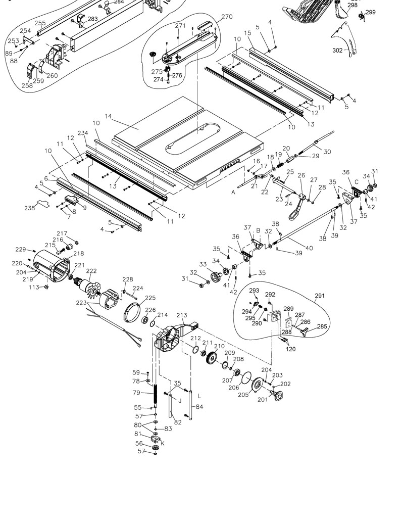 dewalt dw745 parts list and diagram  u2013 type 1