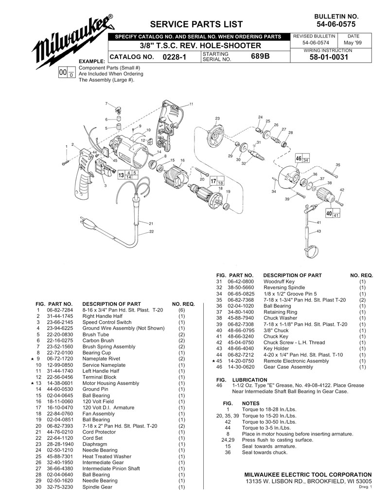 Milwaukee Tools Wiring Diagram : Ordering instructions